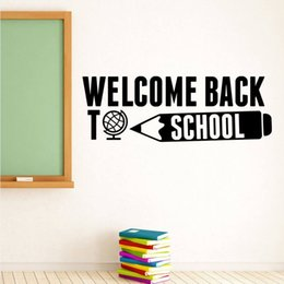 Bathroom Wall Sticker Quotes Australia - School Wall Decal Welcome Back To School Quote Wall Sticker Education Inspirational Quote Wall Poster Vinyl Lettering Art