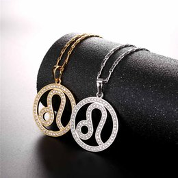 simple 2017 Zodiac Charms LEO Pendant Simple Design Jewelry Gift Rhinestone  Gold Silver Color Necklace For Men Women P2507 83aa1d2c170d