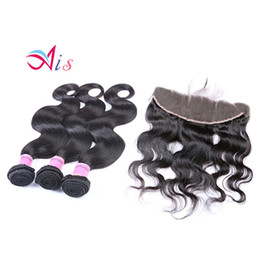 Discount 7a hair bundles closure - 7A Brazilian Hair With Closure 3 Bundles With 13*4 Closure Human Hair Weave Cheap Brazilian Body Wave With Lace Closure