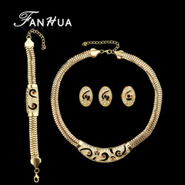 fanhua jewelry UK - FANHUA Luxuriant Jewelry Sets Gold-Color Carved Flower with White Rhinestone Contained Necklace Earring Bracelet And Ring