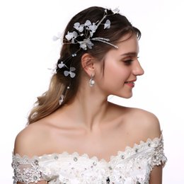 White hair Wreath online shopping - M MISM Womens White Flowers With Leaves Pearl Headband Hair Accessories Wedding Wreath Princess Ladies Garland Bride Headwear