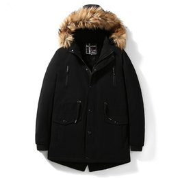 Discount long warm parka mens - Mens Windbreaker Coat Winter Jackets Parkas Fur Hoodies Cashmere Tops Thicken Warm Outerwear Overcoat 2018 L XL XXL XXXL