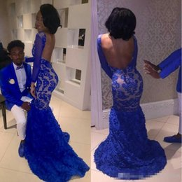 sexy celebrities dress girls Australia - .Black Girl 2K17 Royal Blue Lace Prom Evening Dresses Mermaid Bateau Illusion Long Sleeves Vestidos de Fiesta Celebrity Gowns Arabic 2017