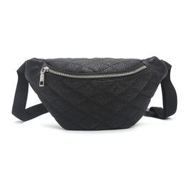 2e9236cc6808 HOTNewest Design Diamond Lattice Waist Bag Fashion PU Leather Belt Bag  Black Red White Silver Fanny Pack Women Shoulder Crossbody Bags