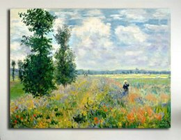 field paint Canada - Poppy Field Argenteuil by Claude Monet High Quality Hand-painted & HD Print Landscape Art Oil Painting On Canvas Wall Art Home Decor l147