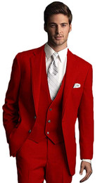 red tuxedos NZ - New Style Groomsmen Red Groom Tuxedos Notch Lapel Men Suits Wedding Best Man Bridegroom (Jacket + Pants + Vest + Tie) L201