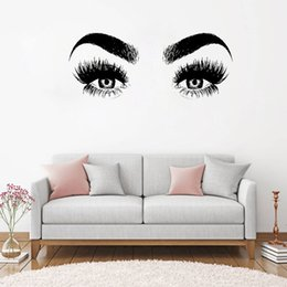 Large waLL decaLs eyes online shopping - New Arrivals Eye Eyelashes Wall Decal Art Vinyl Home Wall Decor Large Lashes Eyebrows Wallpaper Diy Removable Wall Sticker