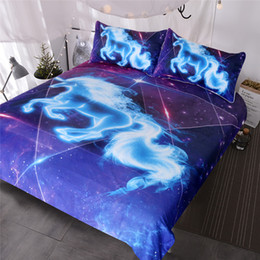 Wholesale Galaxy Blue Unicorn Bedding Boys Girls Sparkling Star Duvet Cover Piece Unicorn of The Universe Kids Bed Spread