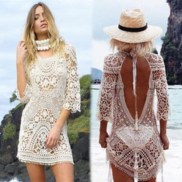 0edf51b40a Fashion Women Lace Crochet Bikini Cover Up Swimwear Summer Beach Dress Lady White  Sexy Hollow Knit Swimsuit 29wy W
