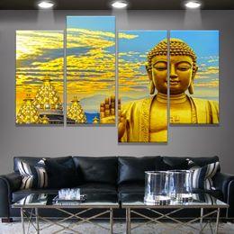 $enCountryForm.capitalKeyWord Australia - Modern Home Decoration Wall Decor Painting Canvas Art Hd Print fabric poster Gold Buddhist church Buddha statues