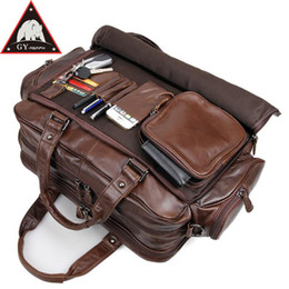 Travel lapTop cases online shopping - ANAPH Full Grain Men s Leather Briefcases Big Travel Bag Attached Inch Laptop Case Business Men Messenger Bags In Coffee