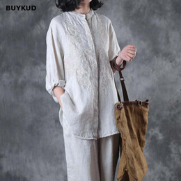 women linen summer shirt embroidery Canada - BUYKUD Vintage Linen Embroidered Women Shirt 2018 Summer Autumn Loose Casual Solid Jacquard White Blouse Three Quater Sleeve Top