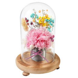 China 18cm Valentine`s Days Scented soap Flower bouquet Glass Display wood base preservation Preserved Fresh Flower NYR Party Lover's Gift suppliers