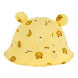 827b323e963 Baby Summer Hat Cotton Baby Hat Cartoon Cute Bear Print Toddler Kids Bucket  Sun Cap Boys Girls Photography Props Hat