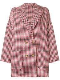 ladies red plaid shirt UK - 2018 Red Notched-Lapel Houndstooth Plaid Print Long Sleeves Lady Woolen Coat Women Shirt MS930 Italy Fall Autumn