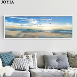 $enCountryForm.capitalKeyWord Australia - Large Single Sea Painting Seascape Beach Picture Dusk Waves Seagull Wall Picture For Bedroom Living Room Decoration No Frame