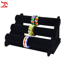 Chinese  New and Fashion 3 Tier Black Velvet Bracelet Chain Watch T-Bar Rack Jewelry Organizer Hard Display Stand Holder manufacturers