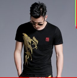 $enCountryForm.capitalKeyWord Canada - 2018 Summer Mens Casual T Shirts O-neck Black Gold Embroidery Leaves Man's Short Sleeve Slim T-Shirts Male Tops Tee