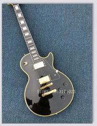 Guitar Custom Shop Black NZ - Black Custom Shop Electric Guitar Mahogany Body Yellow Binding New Arrival OEM From China