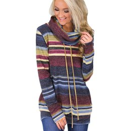 Long Striped Scarf Australia - Autumn New Arrival Striped Women Hoodies Casual Long Sleeve Hoodies Pullover Loose Scarf collar Sweatshirts Sudadera Mujer XXL