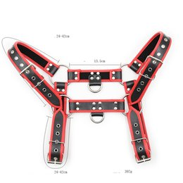 $enCountryForm.capitalKeyWord NZ - Fetish Party Shoulder Harness Strap BDSM Bondage Restraints Erotic Adult Sex Toys for Men Red Adult Games Faux Leather GN303200224