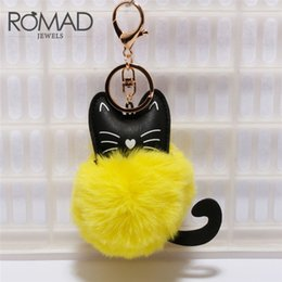 Artificial Chains Wholesalers Australia - Romad Sleutelhanger 2018 Fur Pom Keychains Artificial Rabbit Fur Ball Key Chain Pompom Fluffy Charms Charm Keychain Keyring G5ED