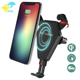 Wholesale Fast Qi Wireless Charger Car Mount Phone Holder Gravity Reaction for iPhone Plus X Samsung Galaxy S6 S7 S8 Plus