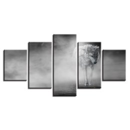$enCountryForm.capitalKeyWord UK - (No Frame) 5 Panles Black And White Wolf Animal Spray Oil Painting Giclee Canvas Prints Painting for Office Home Decoration