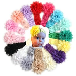 Wholesale Baby Headband Elastic Newborn Baby Hair Accessories Big Flower Floral Haarband For Girls Hairband Turban KF38
