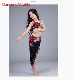 Royal Performance Suits Australia - Fashion Child Girls Belly Dance Embroidered Diamond Sling Bra Sexy Tassel Skirt Suit Performance Competition Costume Indian Oriental Clothes