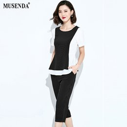 6a155bc3367 MUSENDA Plus Size Women Black White Striped Patchwork Tops Button Fly Knee Length  Pants 2018 Summer Lady Two Piece Sets Clothing