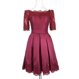 Chinese  Short Burgundy Cheap Prom Cocktail Dresses Off the shoulders With Sleeves Applique Lace Designer Satin Corset Back Homecoming Evening Dress manufacturers