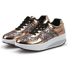 b5bcca76f Sequin Silver flatS online shopping - LAKESHI Bling Platform Sneakers Women  Fashion Golden Sequin Waterproof Women