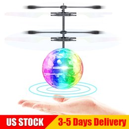 Ball Box plastic online shopping - Crystal Flying Ball Infrared Induction RC Flying Toy Built in LED Light Disco Helicopter Shining Colorful Flying Drone US STOCK