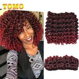 Curl Hair Curling Wand Australia - TOMO Hair Jamaican Bounce Curly Twist Burgundy Brown Ombre Crochet Braids Wand Curl 8 inch 20 Strands pack Crochet Braiding Hair Extensions