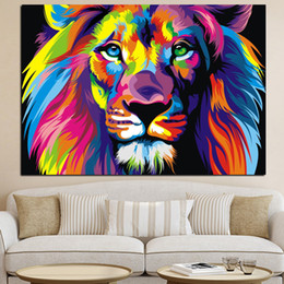 Discount colorful art paintings - Pop Art HD Print Colorful Lion Animals Abstract Oil Painting on Canvas Modern Wall Art Picture for Kid Room Poster Cudro
