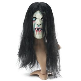 Novelty & Special Use Costume Props Halloween Party Cosplay Scary Ghost Face Mask Halloween Toothy Zombie Bride With Black Hair Horror Ghost Head Mask Toy