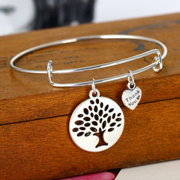 Discount wholesale tree life bracelets - whole saleBespmosp 12PCS Lot Wholesale Trendy Hollow Tree of Life Wire Adjustable Expandable Heart Pendant Bangle Bracel