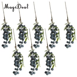 Wholesale 8 Pieces Artificial Lifelike Plant Fruit Berries Branches Stem Wedding Venue Bouquet Floral Decor Crafts Blueberry