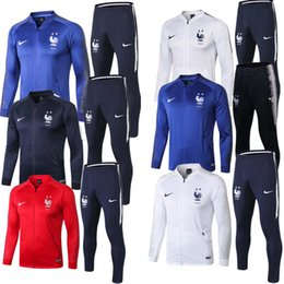 4bce32b5ff8 Franch tracksuit jackets Sportswear 1819 maillot de foot Mens tracksuits  Franch soccer jackets Long sleeve+pants Set clothing
