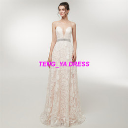 train works Canada - 2018 Heavy Work Sexy Glaring Embroidery Beaded Strapless A Line Deep V Neck Floor Length Backless Ivory Evening Dress D014