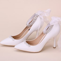 a67c9328114517 Funky bowling adult dance shoes pointed toe bridal shoes white laced wedding  evening dress shoes for women