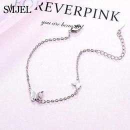 $enCountryForm.capitalKeyWord NZ - SMJEL Silver Chain Butterfly Pendant Bracelets and Bangles Fashion Women Heart Butterfly Charm Bracelet Jewelry Accessories