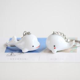 Animal Handmade Canada - Ceramic Animal Pendant Cartoon Key Chain Small Lovely Handmade Dolphin Whale Sea Elf Key Chain Couple Jewelry