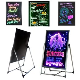 Discount lighted menu boards LED Message Writing Board Illuminated Erasable Neon Effect Restaurant Menu Sign with 8 colors Markers DIY Message chalkb