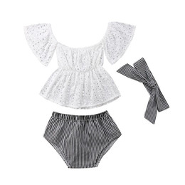 cute baby clothes wholesale UK - Newborn Baby Girl Clothes Set Lace Floral Off Shoulder Hollow Out Tops Blouse Stripe Shorts Headband 3PCS Summer Infant Toddler Outfit 0-24M
