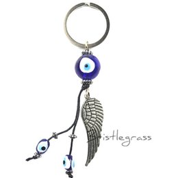 blue evil eye chain 2019 - BRISTLEGRASS Turkey Blue Evil Eye Feather Keychain Car Key Chain Ring Holder Amulet Pendant Lucky Charm Blessing Protect
