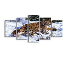 Art Canvas Prints Australia - 5 pieces high-definition print tiger canvas painting poster and wall art living room picture B-012