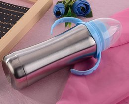 Wholesale Stainless Steel Nursing Bottle with food grade silicone Nipple Baby Milk Feeders Infant Bottles oz Kids Cups