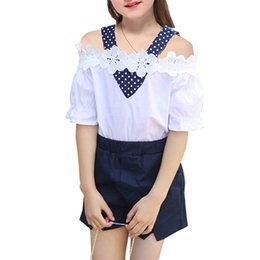 China Girls Sets Summer New Baby Kids Fashion Shoulderless T-shirt + Short Pants 2PC Girls Clothes Suits Cute Outfits 6 8 10 12 Years Y1892906 supplier cute new years outfits suppliers